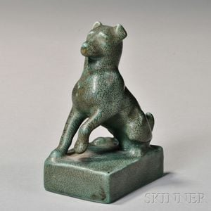 Rookwood Art Pottery Dog Paperweight