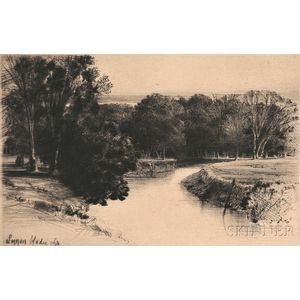 Sir Francis Seymour Haden (British, 1818-1910)      A Sunset in Ireland
