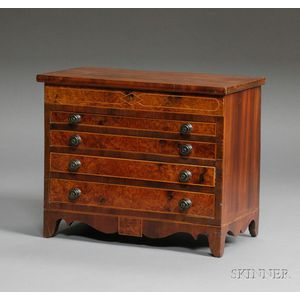 Miniature Federal Inlaid Mahogany and Burl Veneer Chest