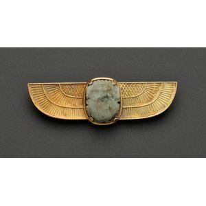 Egyptian Revival 18kt Gold Ancient Scarab Brooch, Castellani