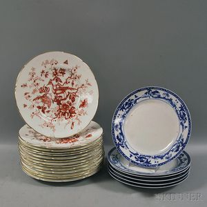 """Fourteen """"Cairo"""" Pattern Coalport Dinner Plates and Six Blue and White Nippon Dinner   Plates"""