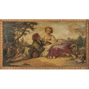French School, 19th Century      Young Shepherdess and Courting Youth in a Landscape