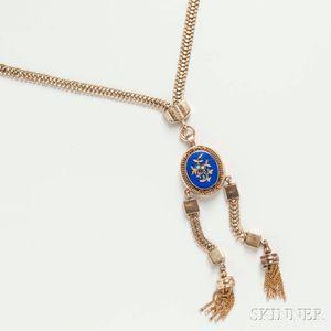Victorian 14kt Gold, Gem-set, and Enamel Necklace
