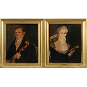 American School, 19th Century      Pair of Portraits: Elisha Wales with a New England Church Bass Viol