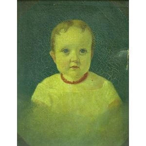 Framed 19th Century Oil on Canvas Portrait of Child with a Coral Necklace
