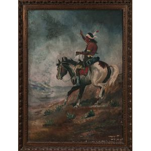 Oil on Canvas Painting Depicting an Apache on Horseback