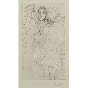 Pablo Picasso (Spanish, 1881-1973)    Sculpteur, Modèle et Sculture Assise