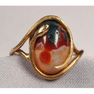 Antique Chalcedony Snake Ring