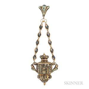 Gold and Swiss Enamel Chatelaine