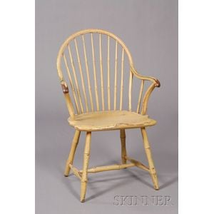 Painted Bow-back Windsor Chair with Applied Arms