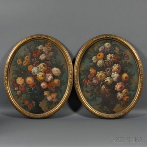 Continental School, 19th Century      Pair of Oval Floral Still Lifes