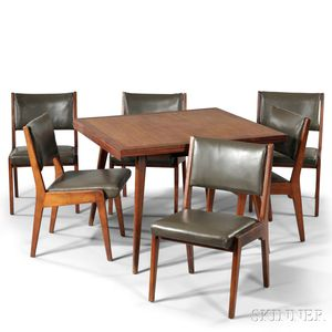 Early Jens Risom Teak Dining Table and Six Chairs