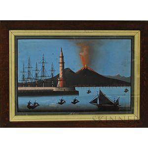 Framed Gouache on Paper of Mount Vesuvius
