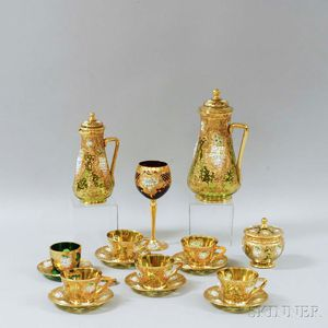 Sixteen Pieces of Gilt and Enameled Colored Glass Tableware