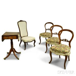 Three Rococo Revival Carved Walnut Chairs, a Slipper Chair, and a Regency Mahogany One-drawer Stand.     Estimate $20-200
