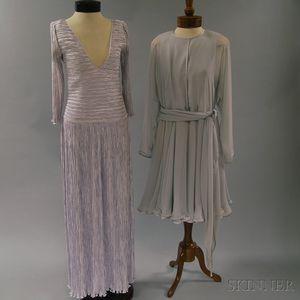Emanuel Ungaro Gray Chiffon Dress with Sash