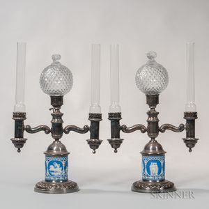 Pair of Dark Blue Jasper-mounted Silver-plated Table Lamps