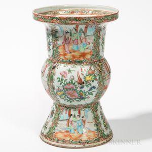 Rose Medallion Export Porcelain Ku-form Vase