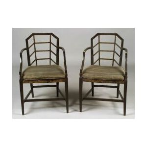 Pair of George III Style Gilt-stenciled and Black Japanned Armchairs