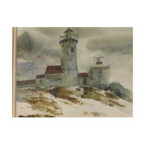 Framed Watercolor of Eastern Point  Light