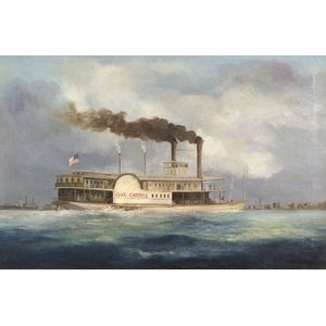 """American School, 19th Century Style  Portrait of the Sidewheel Packet """"CHAS. CARROLL."""""""