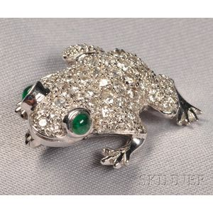 18kt White Gold, Emerald, and Diamond Frog Brooch