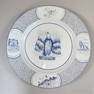 Pair of French Blue and White Porcelain Eagle-decorated Chargers for Tiffany and Co.