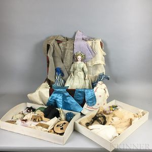 French Bisque Head Fashion Doll with Trunk, Clothing, and Accessories
