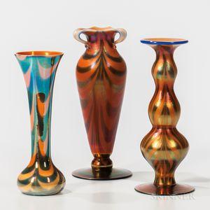 Three Imperial Art Glass Blue on White with Orange Overshot Vases