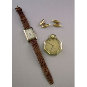 Two Art Deco 14kt Gold Watches and a Pair of Antique 15kt Gold Cuff Links.