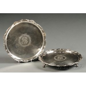 Pair of Federal Coin Silver Waiters
