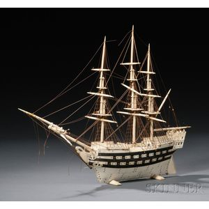 Napoleonic Prisoner-of-war-made Model of a Frigate