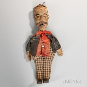 Carved and Painted Wood Whistling Man Toy