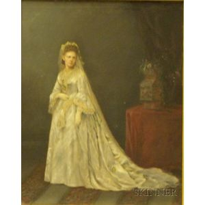 Framed Photograph Enhanced with Oil Depicting a Bride in Her Wedding Dress