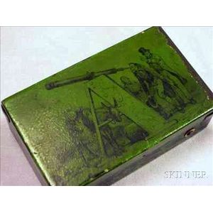 """Musical Snuff Box in Tinplate Case Illustrating the Letter """"A"""""""