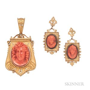 Antique Gold and Coral Cameo Suite