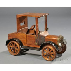 Wood and Bent Steel Scratch-built Toy Model A-style Coupe