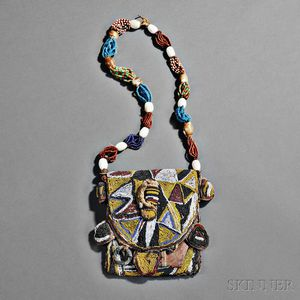 Yoruba Beaded Cloth and Leather Diviner