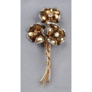 14kt Gold and Diamond Posy Brooch