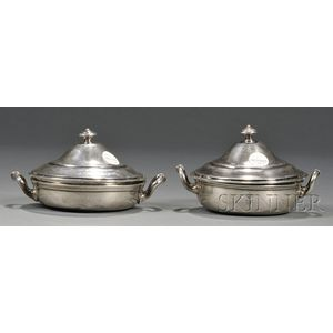 Pair of Egyptian .900 Silver Covered Bowls