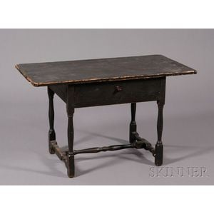 Black-painted Pine and Maple Tavern Table