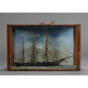 Carved and Painted Wooden Ship Model Diorama