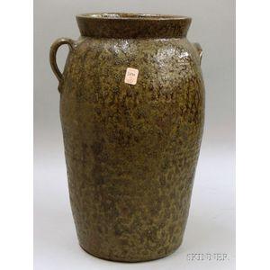 Southern Glazed Stoneware Jar with Loop and Lug Handles