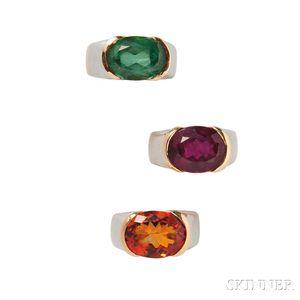 Set of Three 18kt Gold Gem-set Rings, Marina B