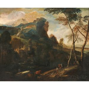 Attributed to Frederick Moucheron (Dutch, 1633-1686)      Travelers in a Landscape