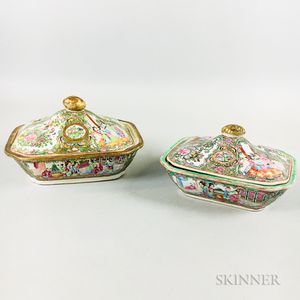 Two Rose Medallion Porcelain Covered Vegetable Dishes