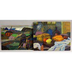 Leighton Cram (American, 1895-1981)      Two Works: Still Life