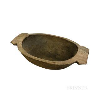 Large Carved Wood Bowl