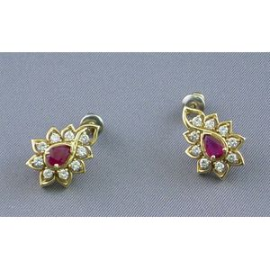 14kt Gold, Ruby, and Diamond Earrings.