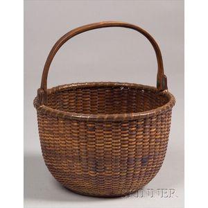 Woven Rattan and Splint Nantucket Basket